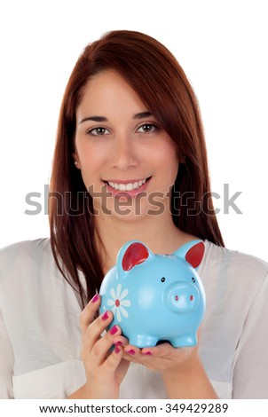 Cool girl looking at camera with a blue moneybox isolated on a white background