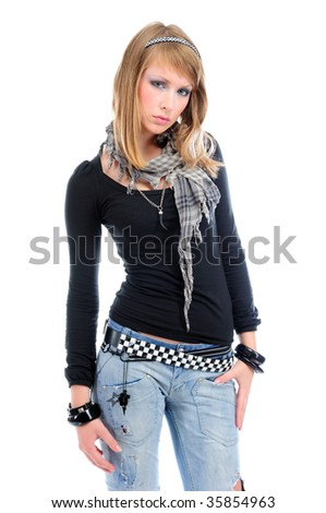 Cool girl with torn jeans and black t-shirt, isolated on white - stock photo