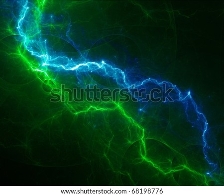 cool green and blue lightning - stock photo