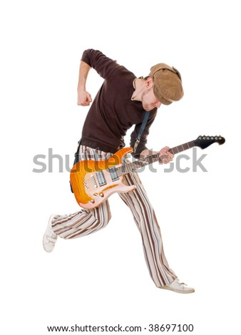 Cool guitarist jumping high isolated on white
