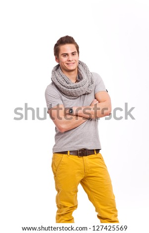 cool guy in yellow pants - stock photo