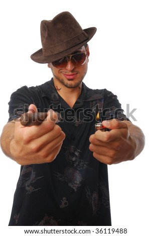 Cool guy offering a cigar - stock photo