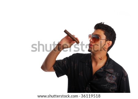 Cool guy smoking a cigar - stock photo