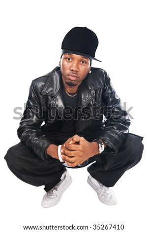 Cool hip-hop youngster isolated on white background