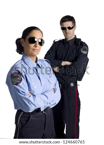 Cool law officers wearing shades - stock photo