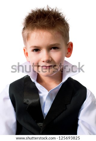 Cool little boy in a waistcoat isolated on white background