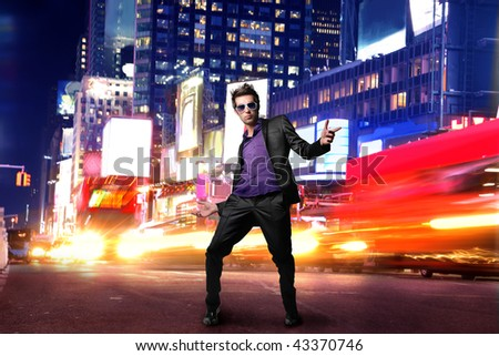 cool looking guy in Time Square - stock photo