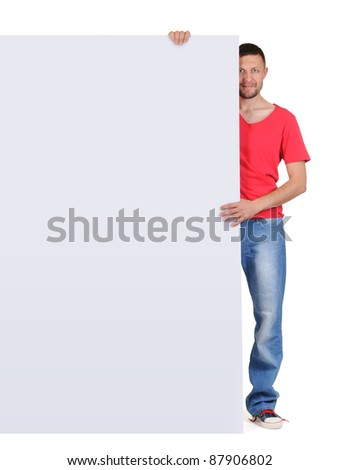 Cool man holding big banner on white background - stock photo