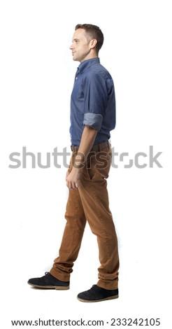 cool man walking - stock photo