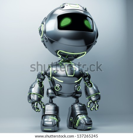 Cool metal robot with green illuminated lines