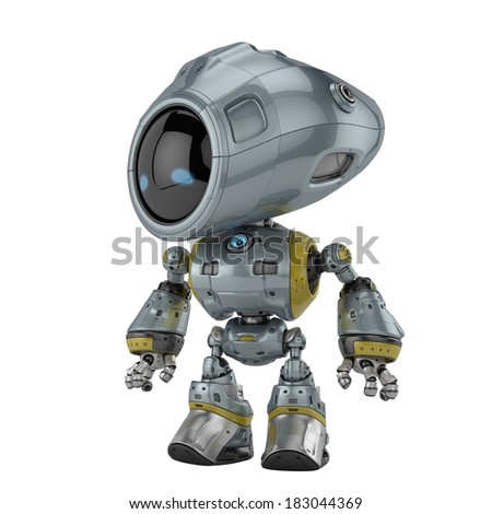 Cool metal robotic toy 3d render / Stylish silver robot