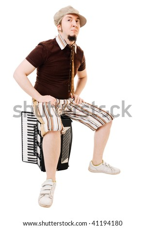 Cool musician with his instrument on white background