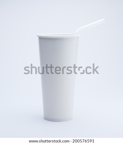 cool paper cup and straw - stock photo
