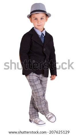 Cool pretty stylish little boy isolated on white background. Clipping paths included.  - stock photo