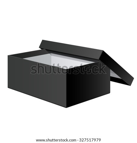 Cool Realistic Black blank Package Box Opened with the cover removed. For shoes, electronic device and other products. - stock photo