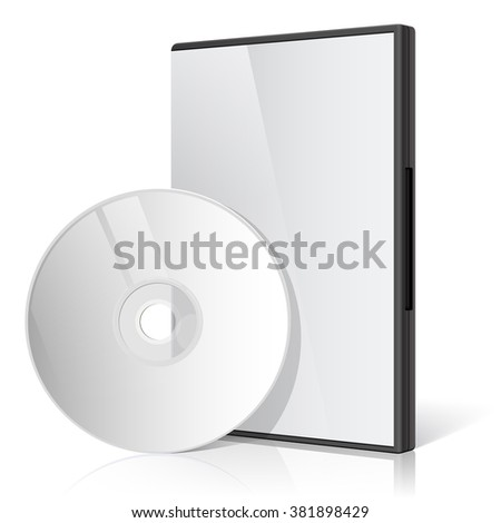 Cool Realistic white Case for DVD Or CD Disk with DVD Or CD Disk. Text, reflection and background on separate layers.  - stock photo