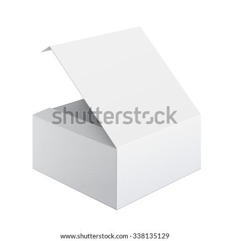 Cool Realistic White Package Cardboard Box Opened. Square shape. For Software, electronic device and other products - stock photo