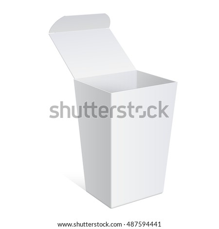 Cool Realistic White Package Cardboard Box Opened. Square shape. For Software, electronic device and other products. illustration