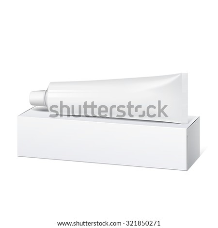 Cool Realistic white tube and packaging with wide cap. For cosmetics, ointments, cream, tooth paste, glue  - stock photo