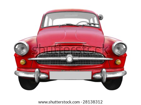 cool red Czechoslovakian vintage car isolated on white background - stock photo