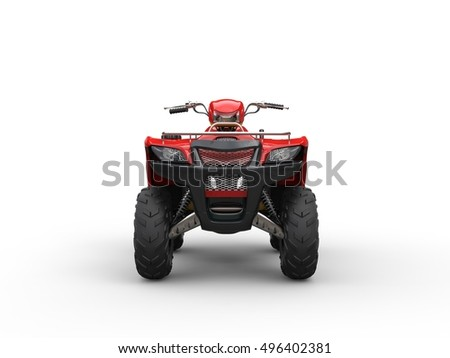 Cool red quadricycle - front view - 3D Render