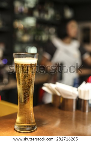 Cool Refreshing Dark Amber Beer - stock photo