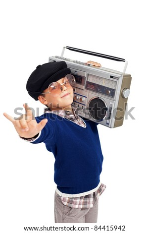Cool retro boy with portable cassette player and beret - isolated