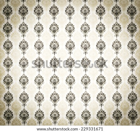 cool retro floral wallpaper in tan and brown design - stock photo