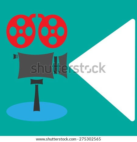 Cool retro movie projector  detailed poster, leaflet or banner template with sample text | Analog device: cinema motion picture film projector with different film reels - stock photo