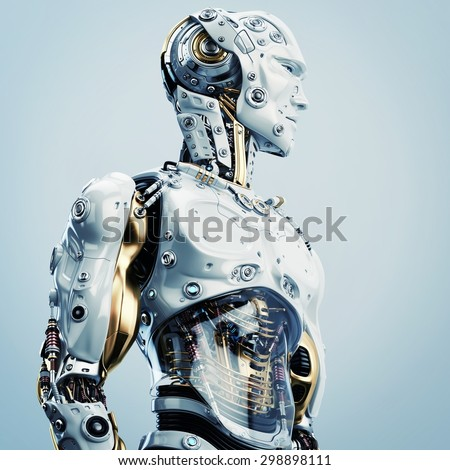 Cool Robot Upper Body Side View Stockillustration 298898111 ...