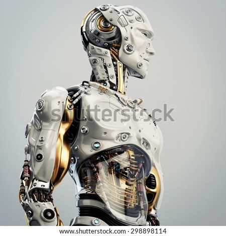 Cool Robot Upper Body Side View Stock Illustration 298898114 ...