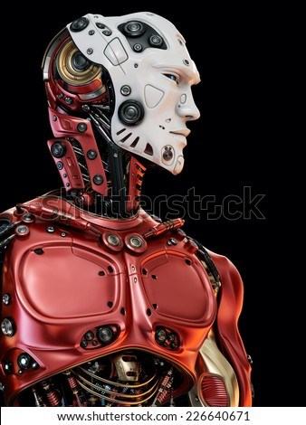 Cool robot upper body in side view / Stylish red cyborg white face - stock photo