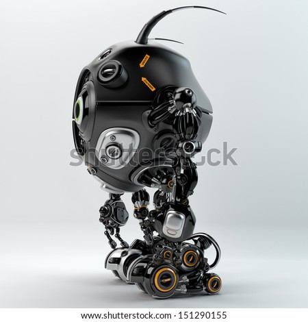 Cool robot with insect antenna's / Beetle-like robotic creature - stock photo