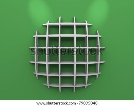 Cool round modern shelf on green background - stock photo