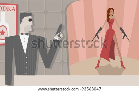 Cool secret agents, man and woman - stock photo