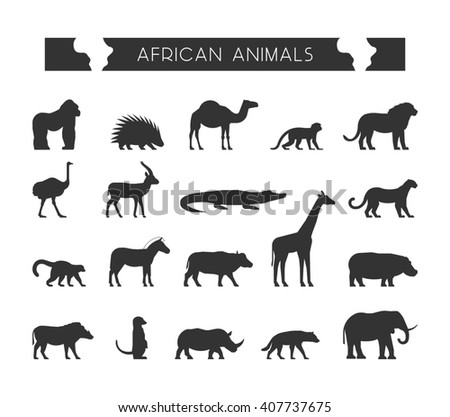 Cool set silhouettes of African animals. Black silhouette of lion, leopard, monkey and crocodile. Geometric black animals of Africa. The black silhouette of a lemur, giraffe, hyena and elephant. - stock photo