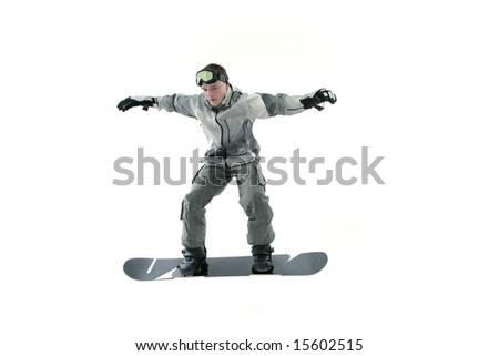 Cool snowboarder jumping, isolated - stock photo