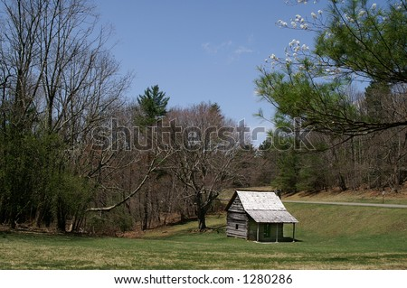 Cool Spring Baptist Church on Blue Ridge Parkway, North Carolina Horizontal - stock photo