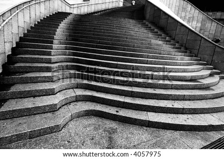 cool stairs in Black and White - stock photo