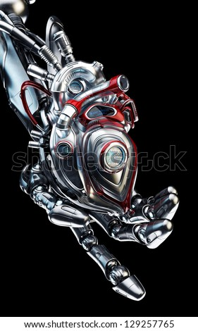 Cool steel cyber arm gives metal prosthetic heart / Robotic hand holds artificial heart - stock photo