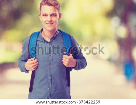 cool student man with back pack