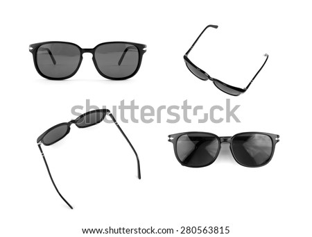 Cool sunglasses set isolated on white background. In black plastic frame. Set of four different foreshortening. Front and top view. Close up. - stock photo