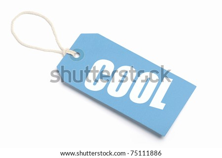 Cool Tag, blue cardboard with string loop. Isolated on white. - stock photo