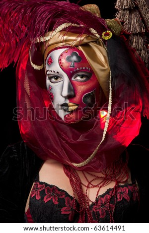 Cool Venetian mask makeup over vintage interior