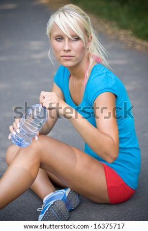cool water after the long run - stock photo