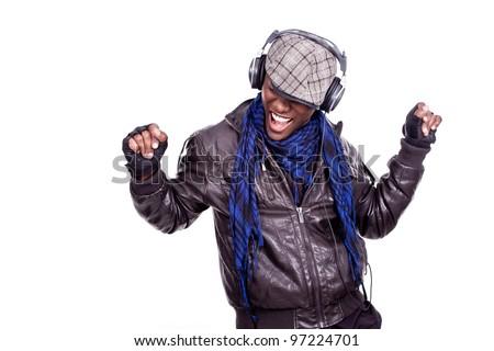 cool young black men dancing - stock photo