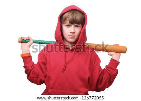Cool young boy with baseball bat on white background - stock photo