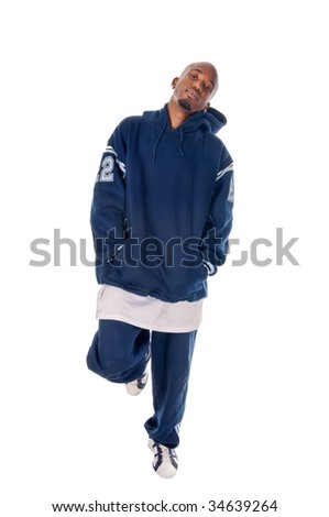 Cool young hip-hop dancer on white background - stock photo