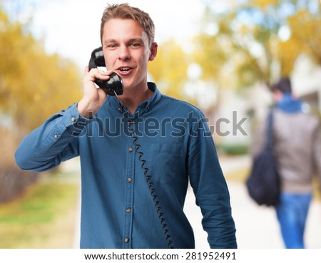 cool young-man with telephone