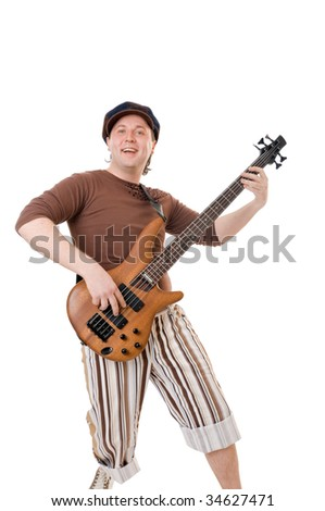 Cool young musician with electric guitar isolated on white background